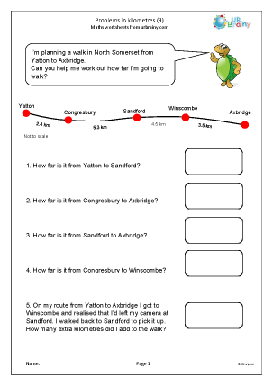 Preview of worksheet Problems in kilometres (3)