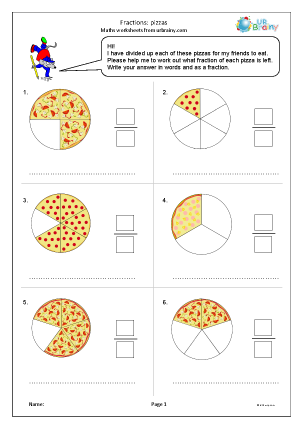 Preview of worksheet Fractions: pizzas