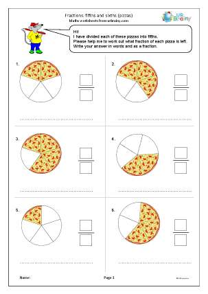 Preview of worksheet Fractions: fifths and sixths pizzas
