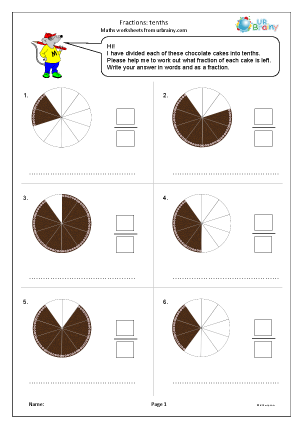 Preview of worksheet Fractions: tenths