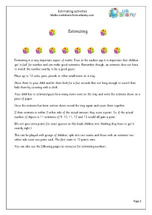 Preview of worksheet Estimating (1)