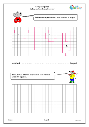 Preview of worksheet Comparing area