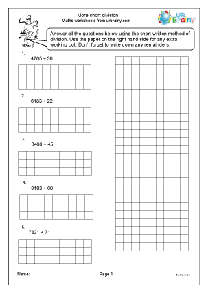 Preview of worksheet More short division