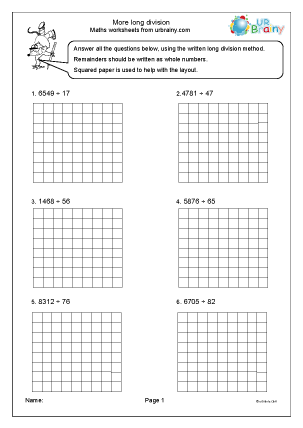 Preview of worksheet More long division