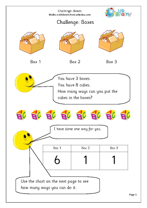 Preview of worksheet Boxes and cubes