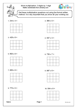 Preview of worksheet More multiplication 3 by 1