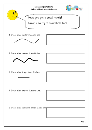 Measuring length (4) Measurement Maths Worksheets For Year 1 (age 5-6)