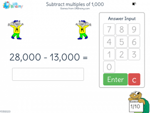 Preview of game Subtract multiples of 1,000 (5-digit)