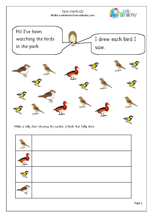 Preview of worksheet Tally chart: birds