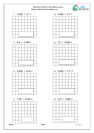 Preview of worksheet Add decimals with different decimal places