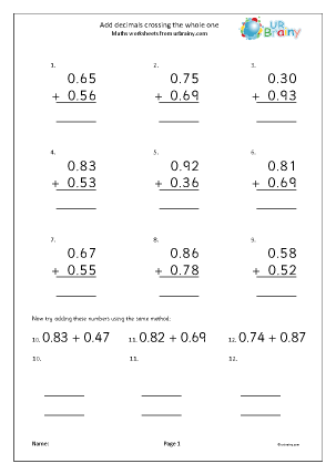 Preview of worksheet Addition of decimals: crossing the whole