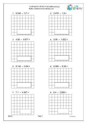 Preview of worksheet Subtraction of decimals (different dp)