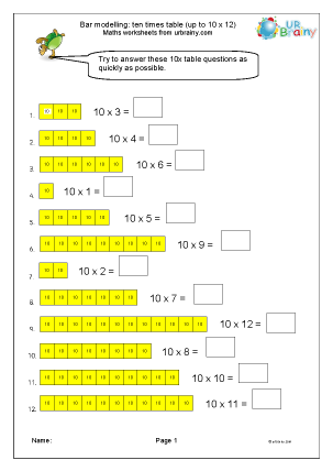 Preview of worksheet Bar modelling: 10 as multiplicand
