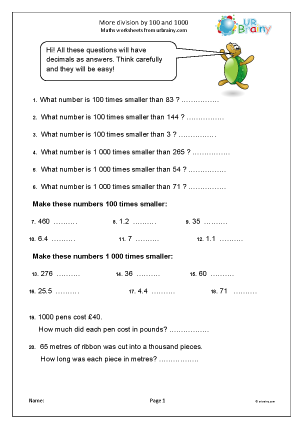 Preview of worksheet More division by 100 and 1000