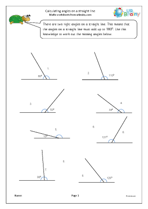 Preview of worksheet Calculate angle on a straight line