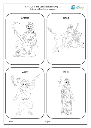 Preview of worksheet Greek Gods and Goddesses: colouring