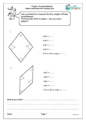 Preview of worksheet Angles of quadrilaterals