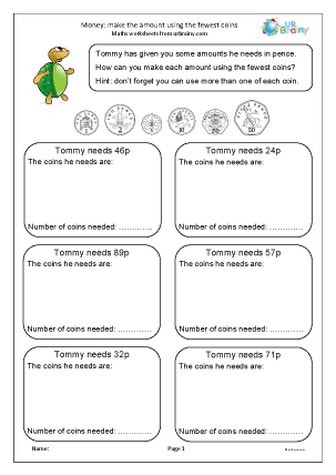 Preview of worksheet Money: make amounts using fewest coins