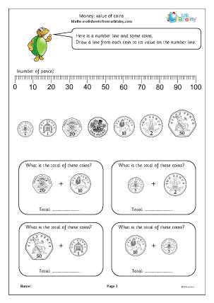 Preview of worksheet Money: value of coins