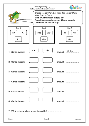 Preview of worksheet Writing money in pounds (2)