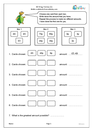 Preview of worksheet Writing money in pounds (1)