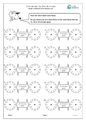 Preview of worksheet Time intervals 10 20 or 30 minutes