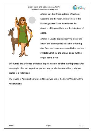 Preview of worksheet Artemis