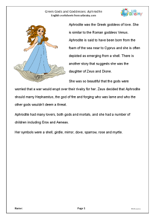 Preview of worksheet Aphrodite