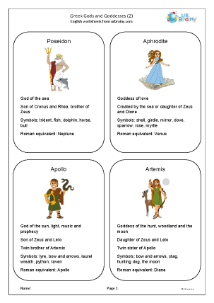 Preview of worksheet Greek Gods and Goddesses 2