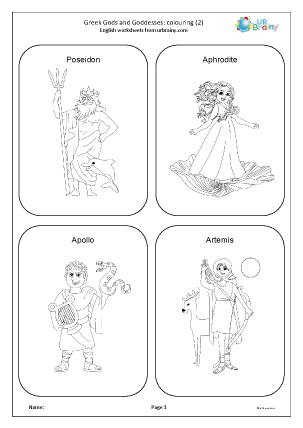Preview of worksheet Greek Gods and Goddesses 2: colouring