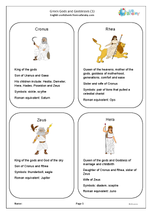 Preview of worksheet Greek Gods and Goddesses 1