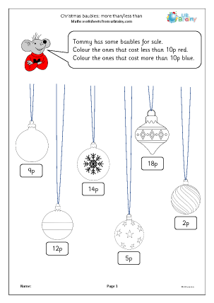 Preview of worksheet Christmas baubles: more than and less than (Y1)