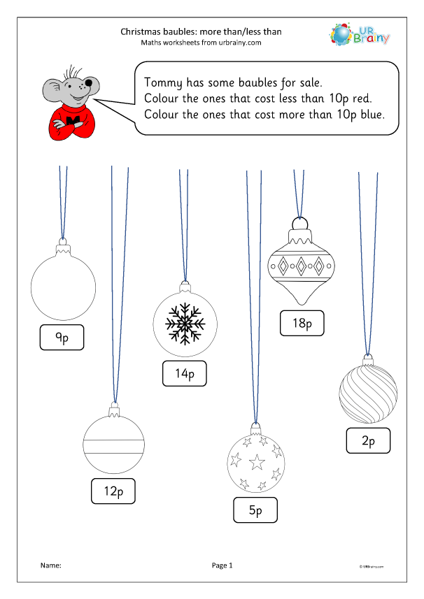 Preview of 'Christmas baubles: more than and less than (Y1)'