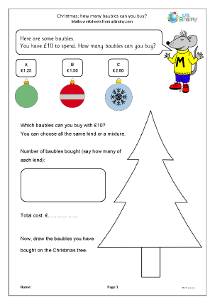 Preview of worksheet Christmas: how many baubles can you buy? (Y3)