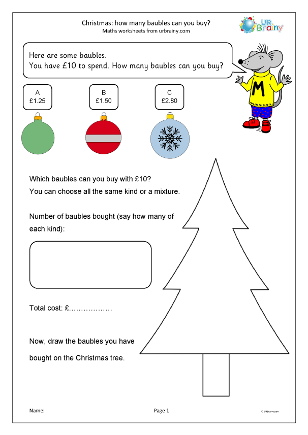 Preview of 'Christmas: how many baubles can you buy? (Y3)'