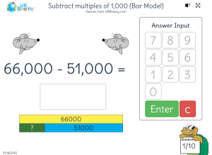 Preview of game Subtract multiples of 1,000 (bar model)