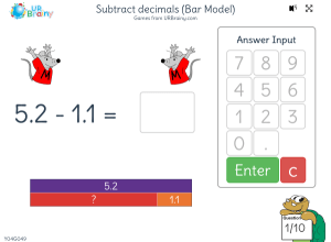 Preview of game Subtract decimals with no exchange (bar model)