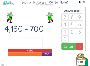 Preview of game Subtract multiples of 100 (bar model)