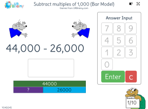 Preview of game Subtract multiples of 1 000 (bar model)