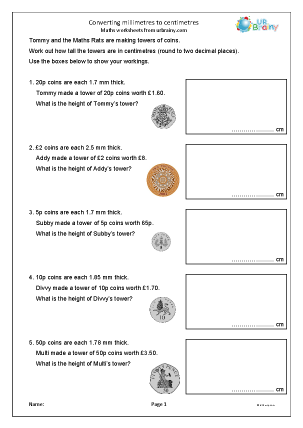 Preview of worksheet Converting millimetres to centimetres