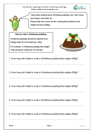 Preview of worksheet Cooking times for Christmas puddings
