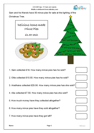 Preview of worksheet Christmas mince pie sales (Y4/5)