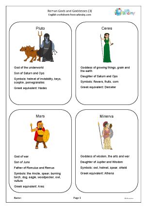 Preview of worksheet Roman gods and goddesses 3