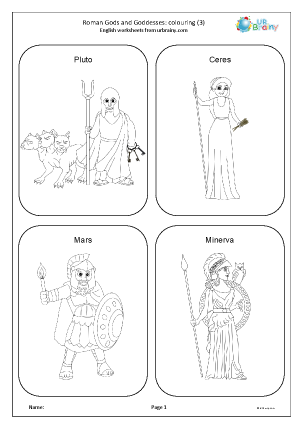 Preview of worksheet Roman gods and goddesses: colouring 3