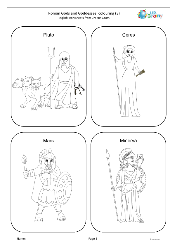 Preview of 'Roman gods and goddesses: colouring 3'