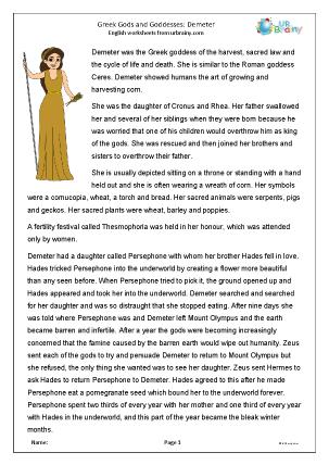 Preview of worksheet Demeter
