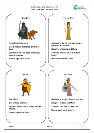 Preview of worksheet Greek gods and goddesses 3