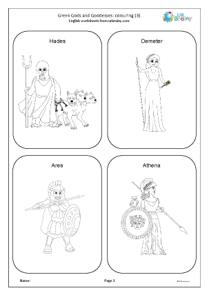 Preview of worksheet Greek gods and goddesses: colouring 3