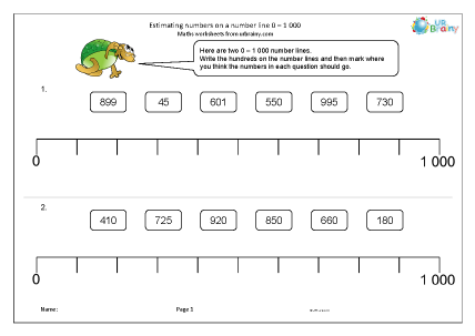Preview of worksheet Estimating numbers on a number line 0-1000