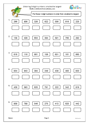 Preview of worksheet Ordering 3-digit numbers: smallest to largest